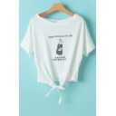 Cute Rabbit Letter Printed Round Neck Short Sleeve Tied Front Cropped Tee