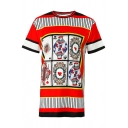 Leisure Color Block Playing Card Printed Round Neck Short Sleeve Tunic Tee