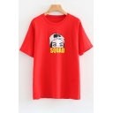 Chic Cartoon Girl Letter Printed Round Neck Short Sleeve Tee