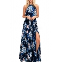 Popular Floral Print Halter Neck Split Front Maxi Beach Dress