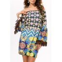 Retro Style Off the Shoulder Tribal Print Wide Tassel Sleeve Shift Mini Dress