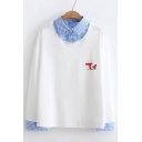 Cartoon White Bear Printed Fake Two Pieces Plaid Lapel Collar Long Sleeve Pullover Sweatshirt