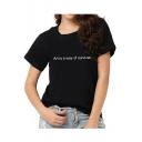 ART IS A WAY OF SURVIVAL Letter Printed Round Neck Short Sleeve Leisure Tee