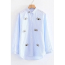 Unique Cat Embroidery Striped Pattern Lapel Button Front Dipped Hem Shirt