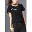 Cut Out Front Round Neck Letter Printed Round Neck Short Sleeve Tee