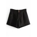 Popular Zipper Fly Plain Lace Up Back Pocket Detail Loose Shorts