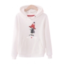 Cartoon Girl Letter Printed Long Sleeve Loose Leisure Hoodie