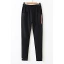 Sportive Elastic Waist Pocket Detail Strap Embellished Embroidered Pants