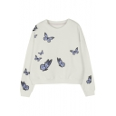 Elegant Butterflies Printed Round Neck Long Sleeve Pullover Sweatshirt