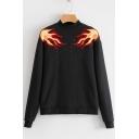 Cool Fire Flame Pattern Mock Neck Long Sleeves Pullover Sweatshirt