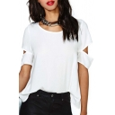 Chic Plain Hollow Back Round Neck Short Sleeves Casual Tee