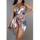 Holiday Sexy Floral Printed Hollow Out One Shoulder Sleeveless Two Pieces Swimwear