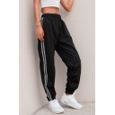 Letter Printed Contrast Striped Elastic Waist Leisure Loose Pants