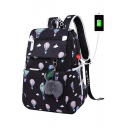 Pop Fashion Hot Air Balloon Pattern Pompom Detail Zippered Backpack School Bag