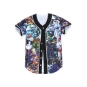 Stylish Cartoon Monster Character Print Button Front Short Sleeve Baseball Tee