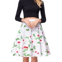 New Collection Retro Cherry Printed Zipper Fly Midi A-Line Skirt