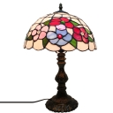11.8''W Table Lamp with Floral Glass Shade in Tiffany Style, Multi-Colored