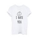 Trendy Face Letter Print Round Neck Short Sleeves Summer T-shirt