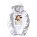 Funny Girl Character Letter Pattern Long Sleeves Pullover Hoodie with Pocket