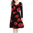 Elegant Floral Print Scoop Neck Long Sleeve A-line Midi Dress