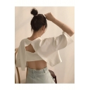 Basic Style Round Neck Half Sleeve Plain Hollow Back Cropped Loose Tee