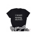 Simple Fashion Letter Print Round Neck Short Sleeves Summer Tee