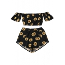 Retro Sunflower Floral Print Off the Shoulder Cropped Top with Loose Shorts