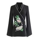 Chinese Retro Embroidered Stand Up Collar Long Sleeve Tied Waist Side Tunic Blouse