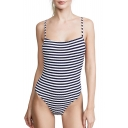 Retro One-Piece Striped Printed Spaghetti Strap Sleeveless Open Back Threaded Swimwear