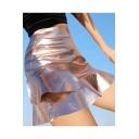 Party Style Ruffle Layered Hem Zip-Back High Waist Mini Skirt