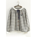 Girlish Tartan Plaids Ruffle Collar Button Front Bow Neck Cat Embroidered Shirt