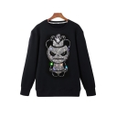 Diamante Embellished Violence Panda Printed Round Neck Long Sleeve Pullover Sweatshirt