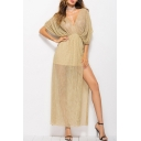 New Stylish Plunge Neck Half Sleeve Split Side Plain Maxi A-Line Dress