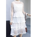 Pearl Floral Embellished Sheer Mesh Two Pieces Long Sleeve Midi A-Line Dress