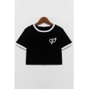 Summer Fashion Symbol Print Color Block Round Neck Short Sleeves Cropped Tee