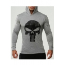 Fancy Skull Pattern Long Sleeves Pullover Slim Fit Hoodie