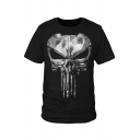 Hot Sale Skull Pattern Round Neck Short Sleeves Summer T-shirt