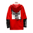 Leisure Color Block Letter Print Layered Sleeve Pullover Hoodie