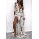 Wild Jungle Style Long Sleeve Leopard Pattern Bow Belted Maxi Beach Dress