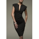Fancy Plain Notched Front Cap Sleeve Midi Pencil Elegant Dress