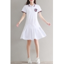 Badge Embellished Contrast Striped Lapel Collar Buttons Down Short Sleeve Mini A-Line Dress