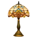 Victorian Multi-Colored Dome Glass Shade 11.81''W 1-Light Table Lamp in Tiffany Style