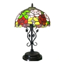 Multi-Colored Floral Theme Tiffany Dome Stained Glass Shade 20