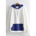 Simple Color Block Japanese Moon Embroidered Long Sleeves Pullover Hoodie