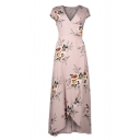 Women's Fashion V-Neck Cap Sleeve Floral Print Belted High Low Hem Wrap Dress