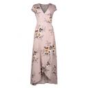 Women's Fashion V-Neck Cap Sleeve Floral Print Belted High Low Hem Wrap Dress