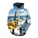 Cool Fishing Pole Printed Leisure Long Sleeve Unisex Hoodie