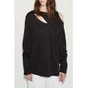 Popular Plain Hollow Out Zipper Detail Round Neck Long Sleeves Pullover Sweatshirt