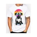 Cute Glasses Pug Dog Printed Crew Neck Short Sleeve Leisure Slim Tee