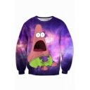 Digital Cartoon Galaxy Printed Round Neck Long Sleeve Oversize Pullover Sweatshirt